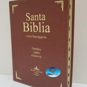 Biblia Reina Valera 1960 Letra Súper Gigante Piel Color Marrón con Índice