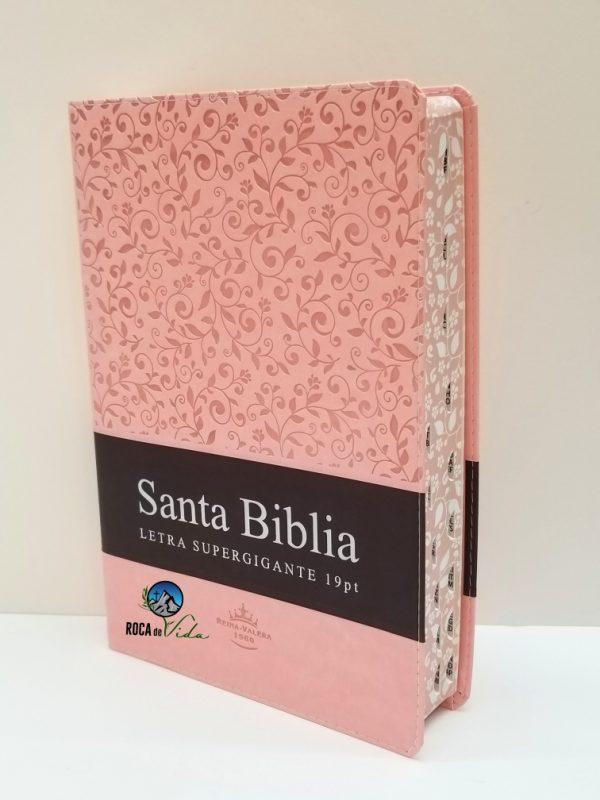 Biblia Reina Valera 1960 Letra Súper Gigante Color Rosa/Marrón Imitación Piel con Índice