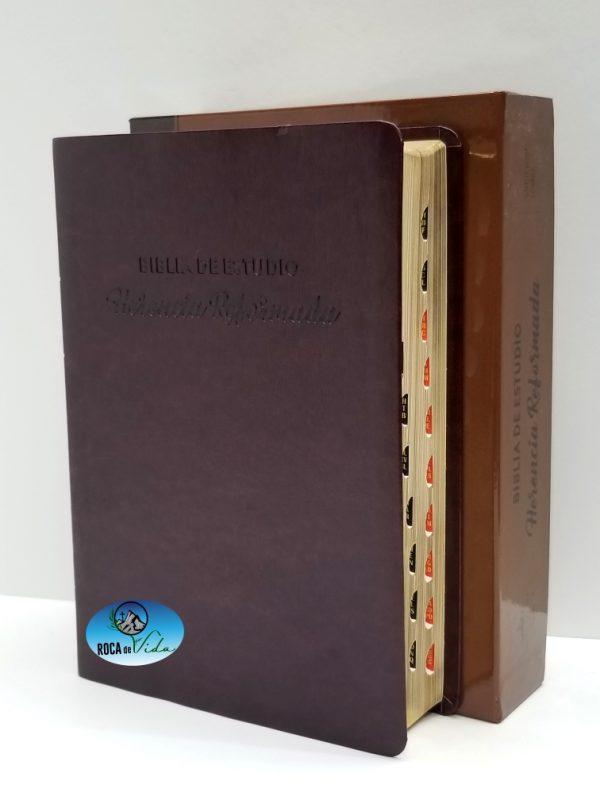 Biblia de Estudio Herencia Reformada RVR1960 Color Vino Tinto Simil Piel con Índice