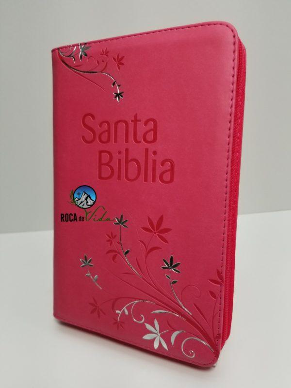 Biblia Letra Grande Reina Valera 1960 Tamaño Manual Fucsia con Índice y Cierre
