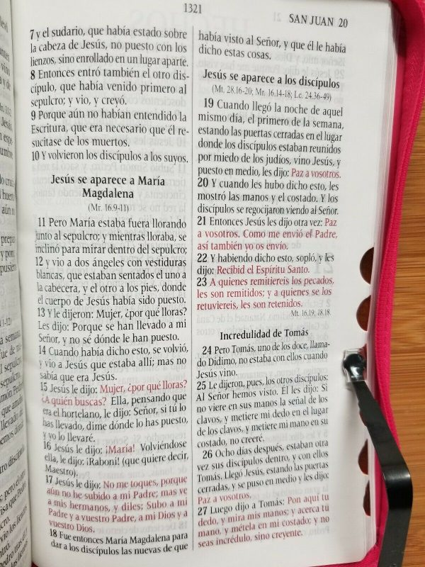 Biblia Letra Grande Reina Valera 1960 Tamaño Manual Fucsia con Índice y Cierre b