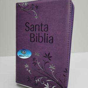Biblia Letra Grande Reina Valera 1960 Tamaño Manual Lila con Índice y Cierre