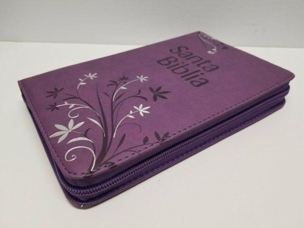 Biblia Letra Grande Reina Valera 1960 Tamaño Manual Lila con Índice y Cierre a