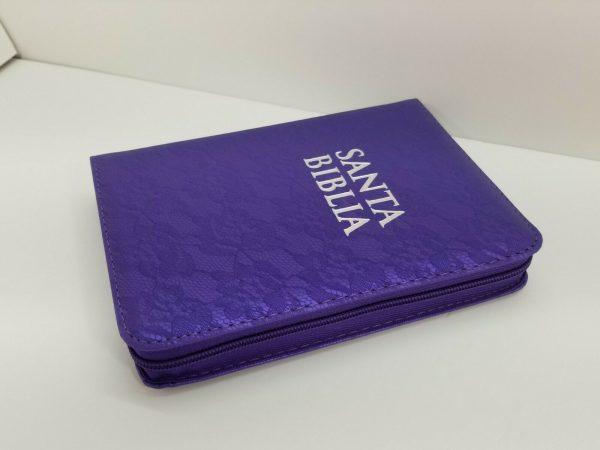 Biblia RVR 1960 Tamaño Compacto Encaje Lila con Índice y Cierre a
