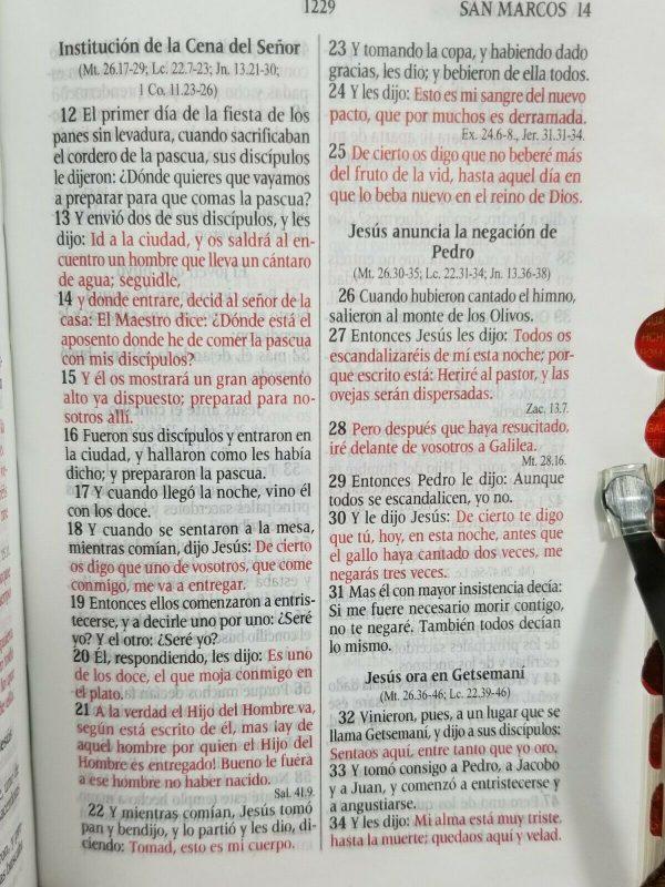 Biblia RVR 1960 Tamaño Compacto Encaje Lila con Índice y Cierre