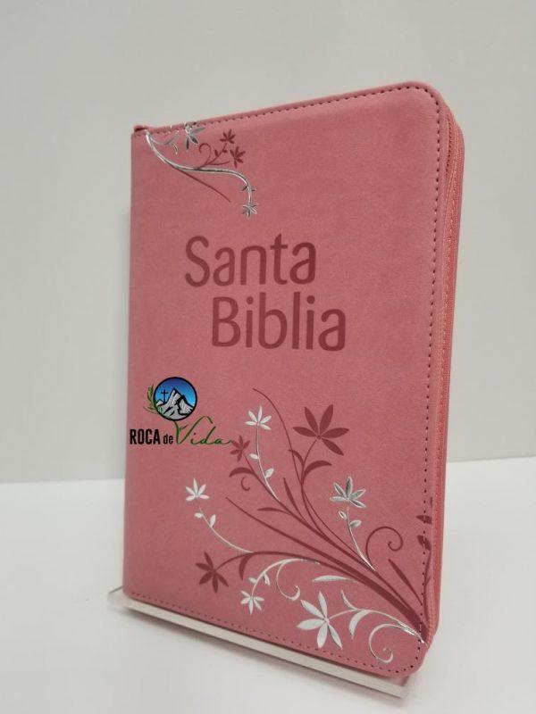 Biblia Letra Grande Reina Valera 1960 Tamaño Manual Rosa con Índice y Cierre