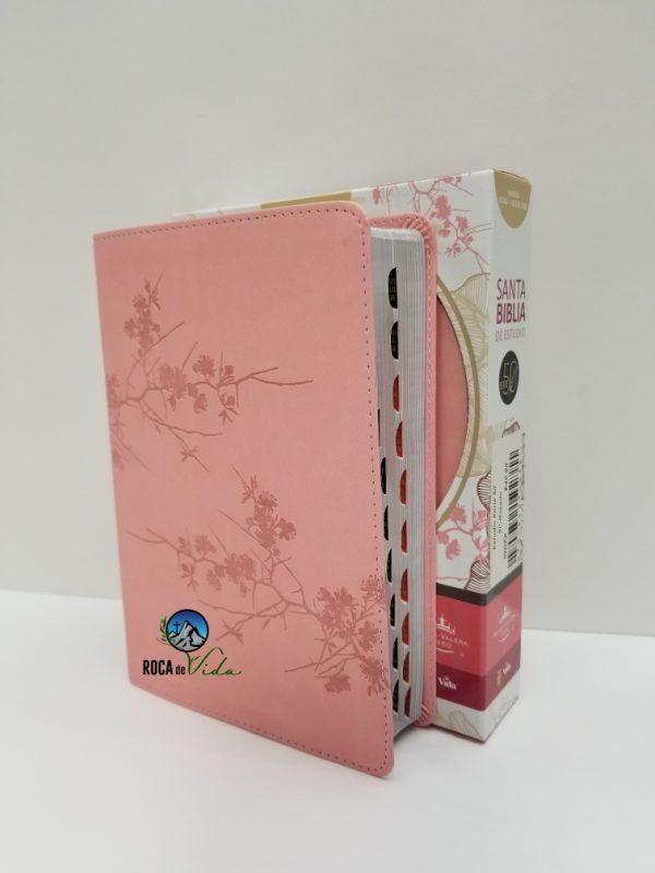 Biblia de Estudio Serie 50 Reina Valera 1960 Simil Piel Color Rosa con Índice