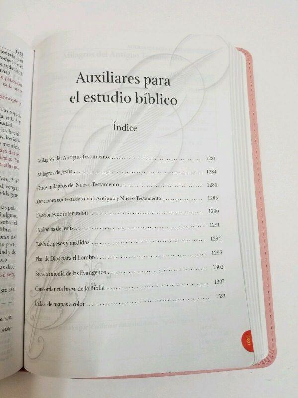 Biblia de Estudio Serie 50 Reina Valera 1960 Simil Piel Color Rosa con Índice b