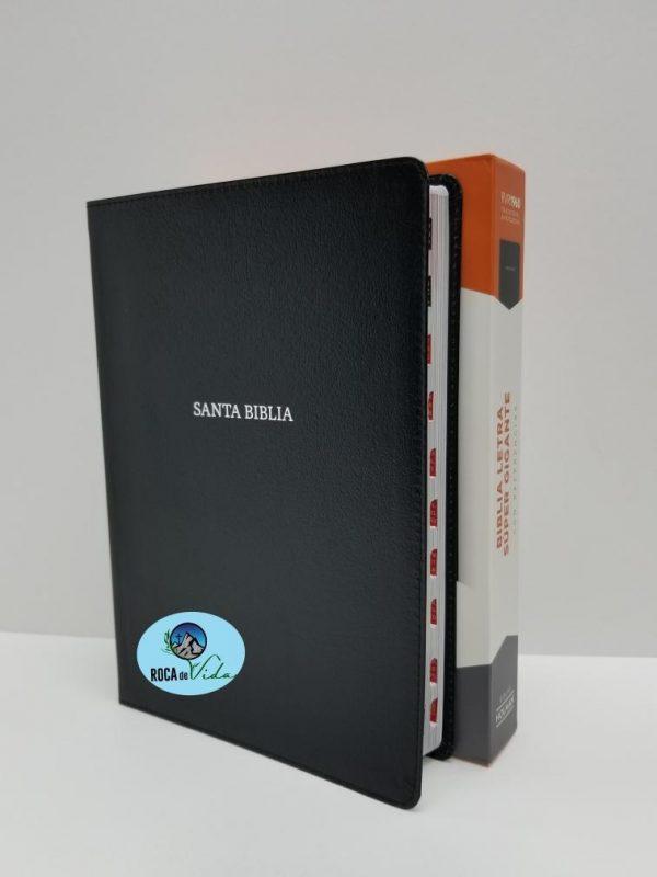Biblia Reina Valera 1960 Letra Súper Gigante Color Negro Piel Fabricada con Índice