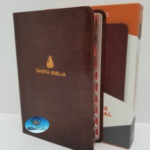 Biblia Reina Valera 1960 Letra Súper Gigante Color Café Piel Fabricada con Índice
