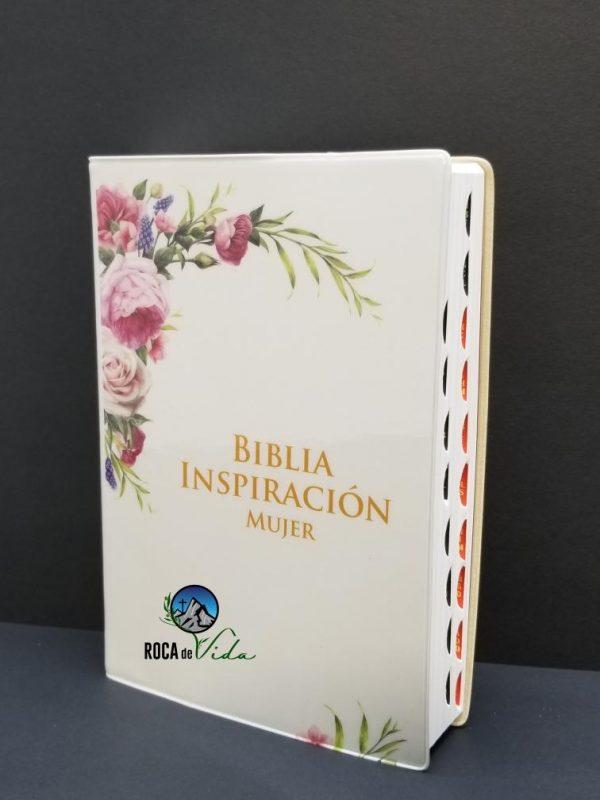 Biblia RVR 1960 Inspiración Mujer Tamaño Manual Vinyl Blanco y Flores con Índice