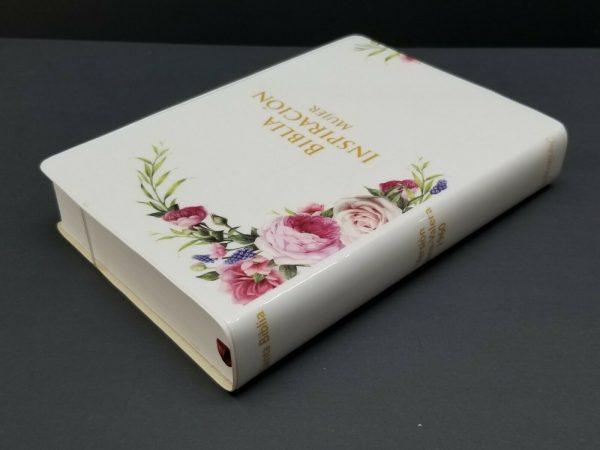 Biblia RVR 1960 Inspiración Mujer Tamaño Manual Vinyl Blanco y Flores con Índice a