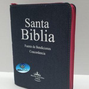 Biblia RVR 1960 Tamaño Compacto Jean con Índice y Cierre Rosa