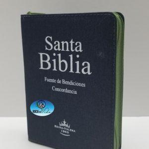 Biblia RVR 1960 Tamaño Compacto Jean con Índice y Cierre Verde
