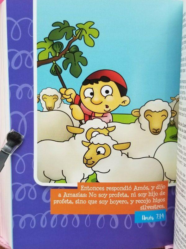 Biblia para Niños Mi Gran Viaje RVR 1960 Imitacion Piel Color Naranja con Cierre b