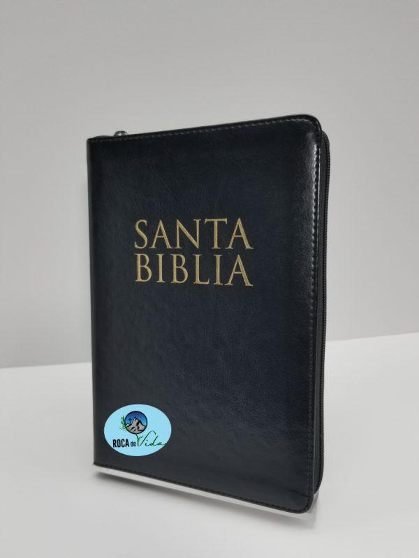 Biblia Letra Grande 12 Puntos RVR 1960 Simil Piel Negro y Oro con Índice y Cierre