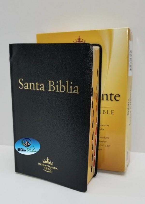 Biblia Reina Valera 1960 Letra Gigante Piel Fabricada Negro con Índice