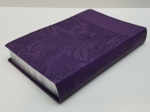 Biblia Mujeres de Propósito Reina Valera 1960 Piel Elaborada Púrpura con Índice a