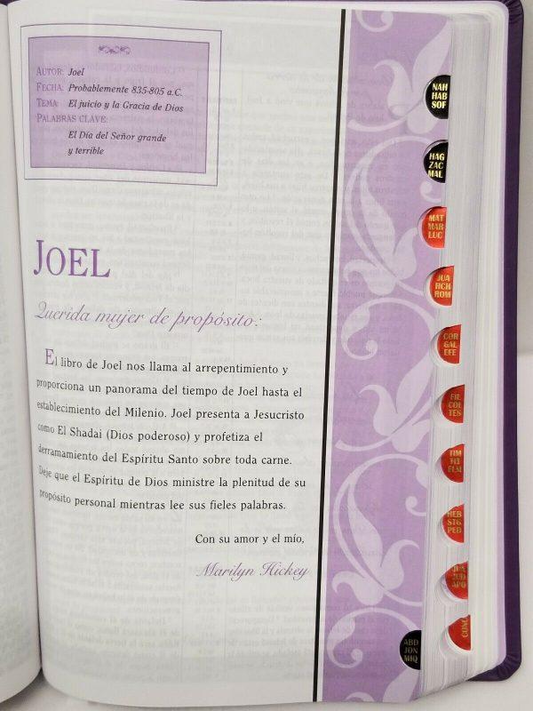 Biblia Mujeres de Propósito Reina Valera 1960 Piel Elaborada Púrpura con Índice c