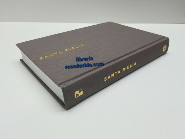 Santa Biblia Ultrafina LBLA Letra Grande Tapa Dura Tela Color Gris con Índice a