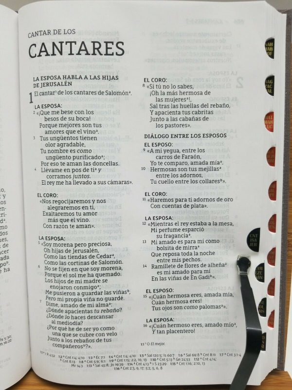 Santa Biblia Ultrafina LBLA Letra Grande Tapa Dura Tela Color Gris con Índice b