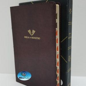 Biblia Del Ministro Reina Valera 1960 Color Caoba Piel Fabricada con Índice